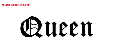 Blackletter Name Tattoo Designs Queen Graphic Download