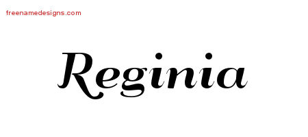 Art Deco Name Tattoo Designs Reginia Printable