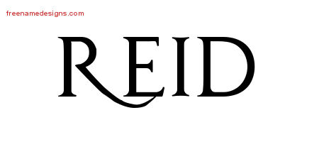 reid name. regal victorian name tattoo designs reid printable