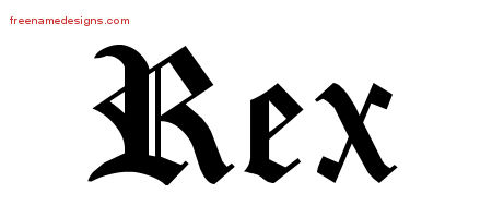 Rex Blackletter Name Tattoo