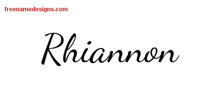 Lively Script Name Tattoo Designs Rhiannon Free Printout