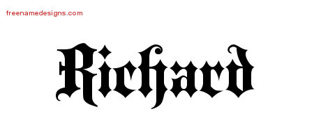 Old English Name Tattoo Designs Richard Free Lettering