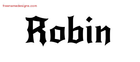 Gothic Name Tattoo Designs Robin Free Graphic