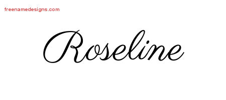 Classic Name Tattoo Designs Roseline Graphic Download