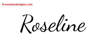 Lively Script Name Tattoo Designs Roseline Free Printout