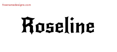 Gothic Name Tattoo Designs Roseline Free Graphic
