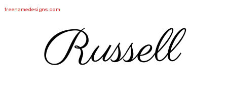 Classic Name Tattoo Designs Russell Printable