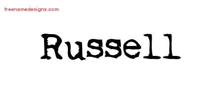 Vintage Writer Name Tattoo Designs Russell Free Lettering