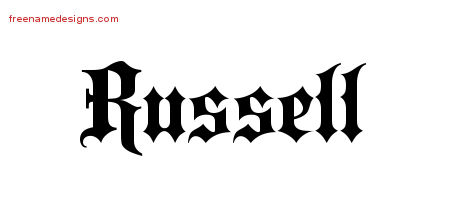 Old English Name Tattoo Designs Russell Free Lettering