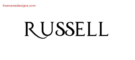 Regal Victorian Name Tattoo Designs Russell Printable
