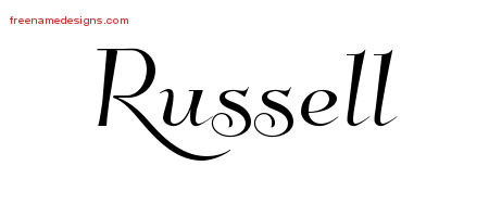 Elegant Name Tattoo Designs Russell Free Graphic