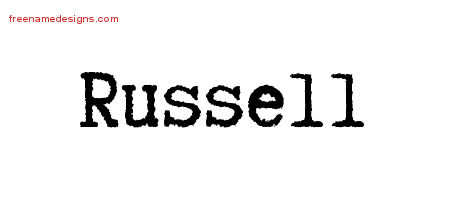 Typewriter Name Tattoo Designs Russell Free Printout