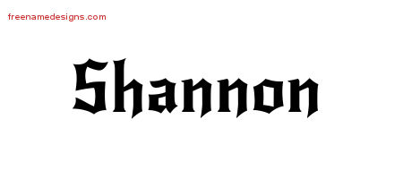 Gothic Name Tattoo Designs Shannon Download Free