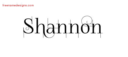 Decorated Name Tattoo Designs Shannon Free Lettering