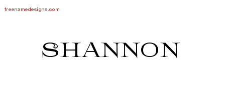 Flourishes Name Tattoo Designs Shannon Graphic Download