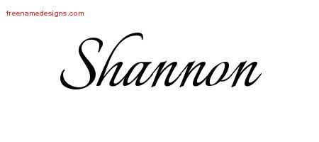 Calligraphic Name Tattoo Designs Shannon Free Graphic
