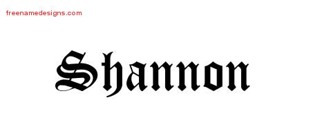 Blackletter Name Tattoo Designs Shannon Graphic Download