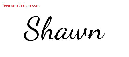 Lively Script Name Tattoo Designs Shawn Free Printout
