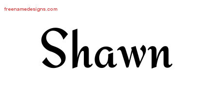 Calligraphic Stylish Name Tattoo Designs Shawn Free Graphic