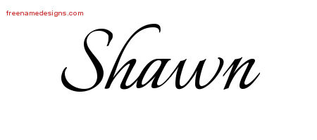 Calligraphic Name Tattoo Designs Shawn Free Graphic
