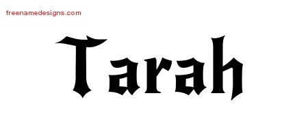 Gothic Name Tattoo Designs Tarah Free Graphic