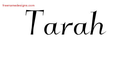 Elegant Name Tattoo Designs Tarah Free Graphic