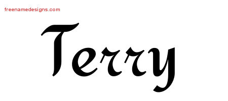 Calligraphic Stylish Name Tattoo Designs Terry Free Graphic