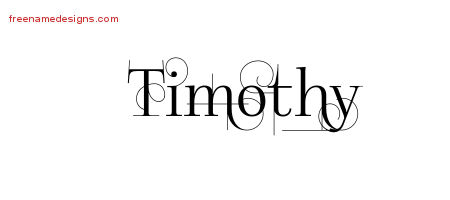 Decorated Name Tattoo Designs Timothy Free Lettering