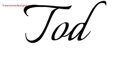 Calligraphic Name Tattoo Designs Tod Free Graphic