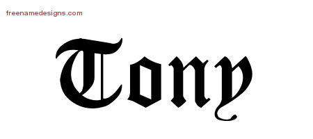 Blackletter Name Tattoo Designs Tony Graphic Download