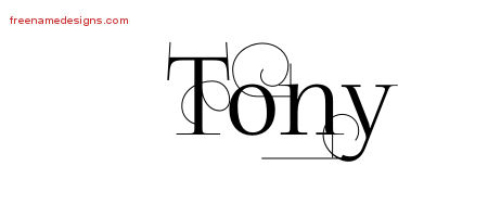 Decorated Name Tattoo Designs Tony Free Lettering