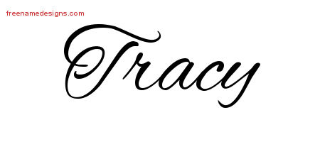 Cursive Name Tattoo Designs Tracy Free Graphic