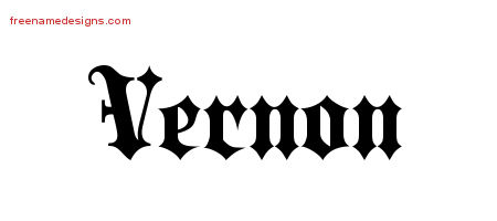 Old English Name Tattoo Designs Vernon Free Lettering