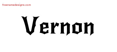 Gothic Name Tattoo Designs Vernon Free Graphic