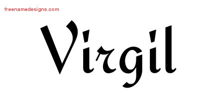 Calligraphic Stylish Name Tattoo Designs Virgil Free Graphic