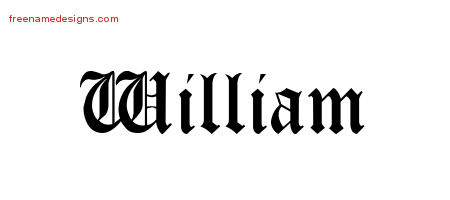Blackletter Name Tattoo Designs William Printable
