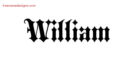 Old English Name Tattoo Designs William Free Lettering