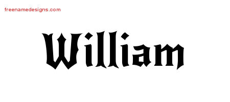 Gothic Name Tattoo Designs William Free Graphic