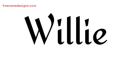 Calligraphic Stylish Name Tattoo Designs Willie Free Graphic