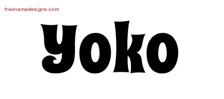 Groovy Name Tattoo Designs Yoko Free Lettering