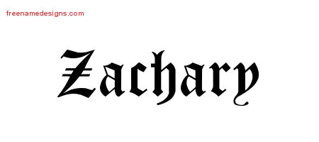 Blackletter Name Tattoo Designs Zachary Printable