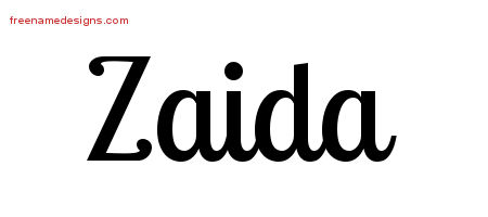 Handwritten Name Tattoo Designs Zaida Free Download